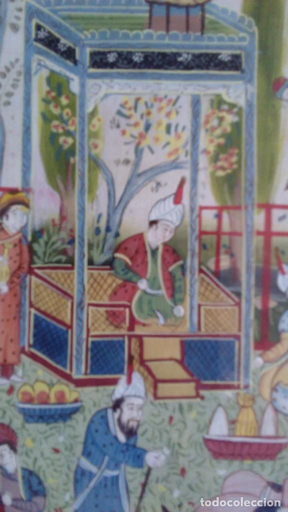 Arte: Pintura persa, S XIX, enmarcado con paspartú con bisel en dorado, escena cortesana - Foto 8 - 133090086