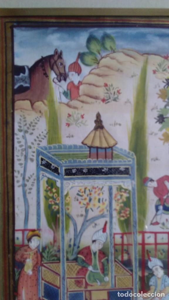 Arte: Pintura persa, S XIX, enmarcado con paspartú con bisel en dorado, escena cortesana - Foto 10 - 133090086
