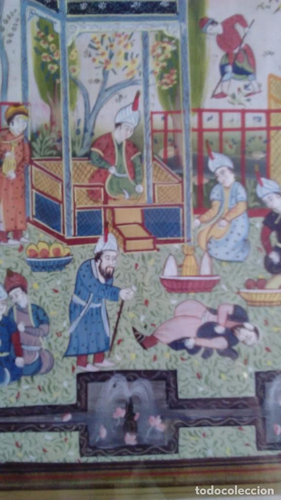 Arte: Pintura persa, S XIX, enmarcado con paspartú con bisel en dorado, escena cortesana - Foto 11 - 133090086