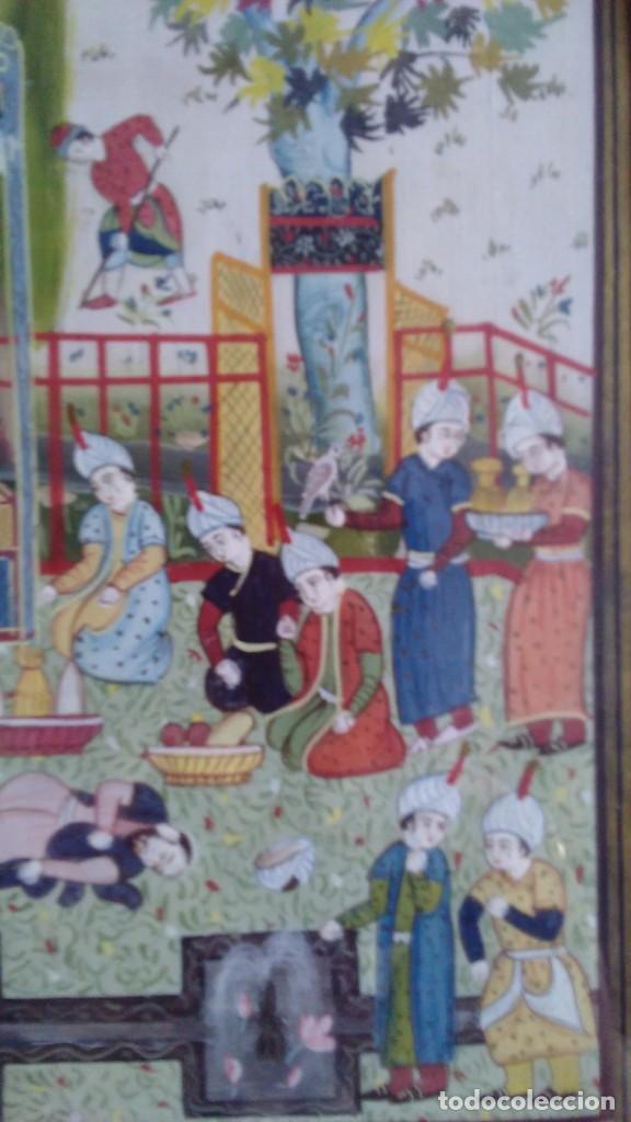 Arte: Pintura persa, S XIX, enmarcado con paspartú con bisel en dorado, escena cortesana - Foto 12 - 133090086