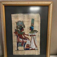Arte: 2 CUADROS PAPIRO EGIPCIO PINTADO AMANO AÑOS 60-70 ENMARCADO. Lote 133173834