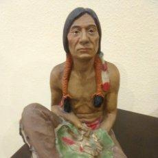 Arte: GRAN FIGURA DE RESINA DE INDIO AMERICANO -MADE IN USA-. Lote 133232466