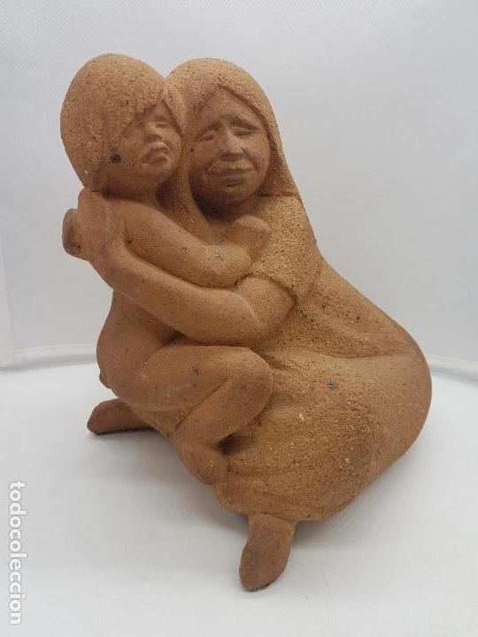 MARAVILLOSA GRAN ESCULTURA ANTIGUA HECHA EN PERÚ MATERNIDAD (Arte - Étnico - América)