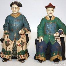 Arte: EMPERADOR Y EMPERATRIZ CHINOS EN MADERA POLICROMADA.. Lote 134280266