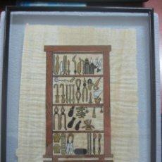 Arte: BONITO PÀPIRO HECHO DE PLANTAS COMO LOS ANTIGUOS EGIPCIOS PINTADO A MANO Y DECORACIONES EN ORO, 1920. Lote 134480770