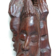 Arte: ESCULTURA DE MADERA AFRICANA 3 CARAS. Lote 137342534