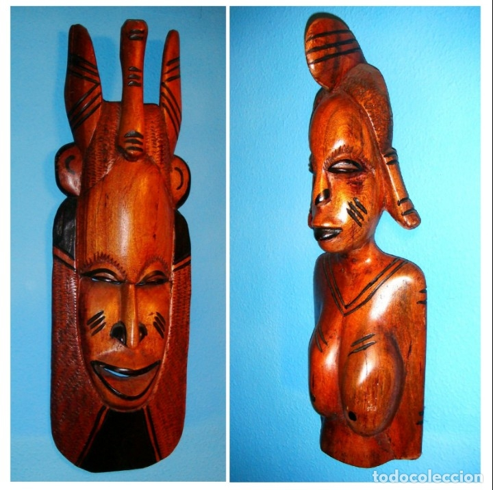X2 MÁSCARAS TALLA MADERA AFRICANA - DECORADAS Y TALLADAS A MANO - MACIZAS - PESAN MUCHÍSIMO.... (Arte - Étnico - África)