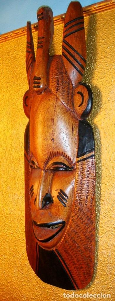 Arte: x2 MÁSCARAS TALLA MADERA AFRICANA - DECORADAS Y TALLADAS A MANO - MACIZAS - PESAN MUCHÍSIMO.... - Foto 2 - 29920256