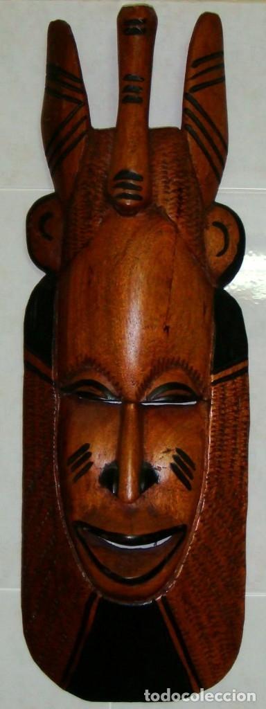 Arte: x2 MÁSCARAS TALLA MADERA AFRICANA - DECORADAS Y TALLADAS A MANO - MACIZAS - PESAN MUCHÍSIMO.... - Foto 5 - 29920256