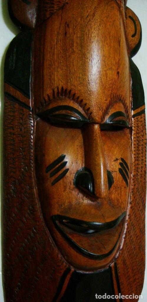 Arte: x2 MÁSCARAS TALLA MADERA AFRICANA - DECORADAS Y TALLADAS A MANO - MACIZAS - PESAN MUCHÍSIMO.... - Foto 6 - 29920256