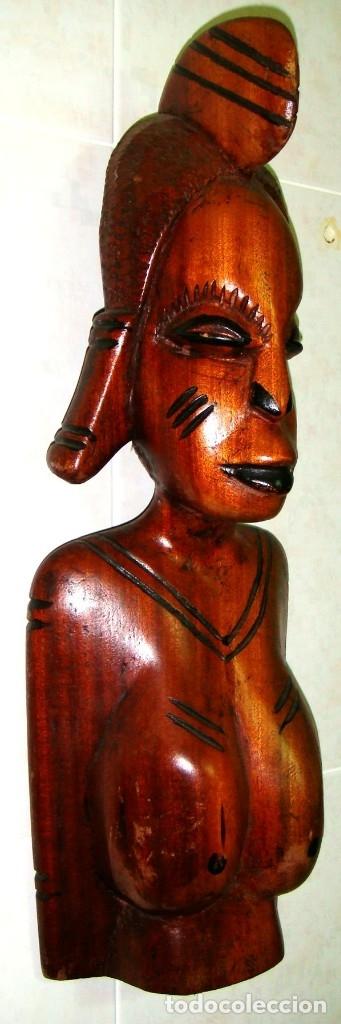 Arte: x2 MÁSCARAS TALLA MADERA AFRICANA - DECORADAS Y TALLADAS A MANO - MACIZAS - PESAN MUCHÍSIMO.... - Foto 8 - 29920256