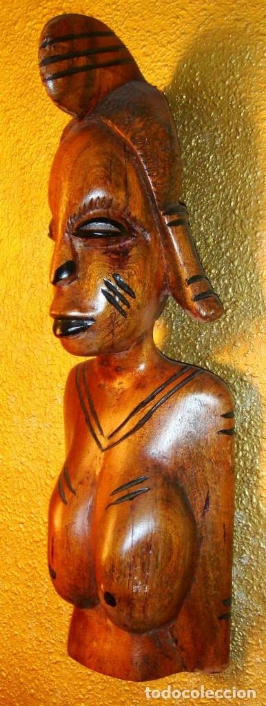 Arte: x2 MÁSCARAS TALLA MADERA AFRICANA - DECORADAS Y TALLADAS A MANO - MACIZAS - PESAN MUCHÍSIMO.... - Foto 9 - 29920256