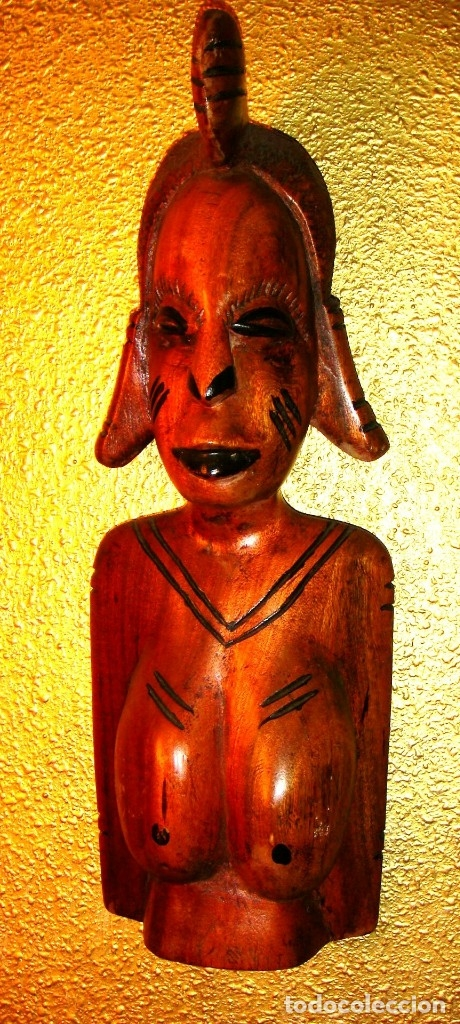 Arte: x2 MÁSCARAS TALLA MADERA AFRICANA - DECORADAS Y TALLADAS A MANO - MACIZAS - PESAN MUCHÍSIMO.... - Foto 10 - 29920256