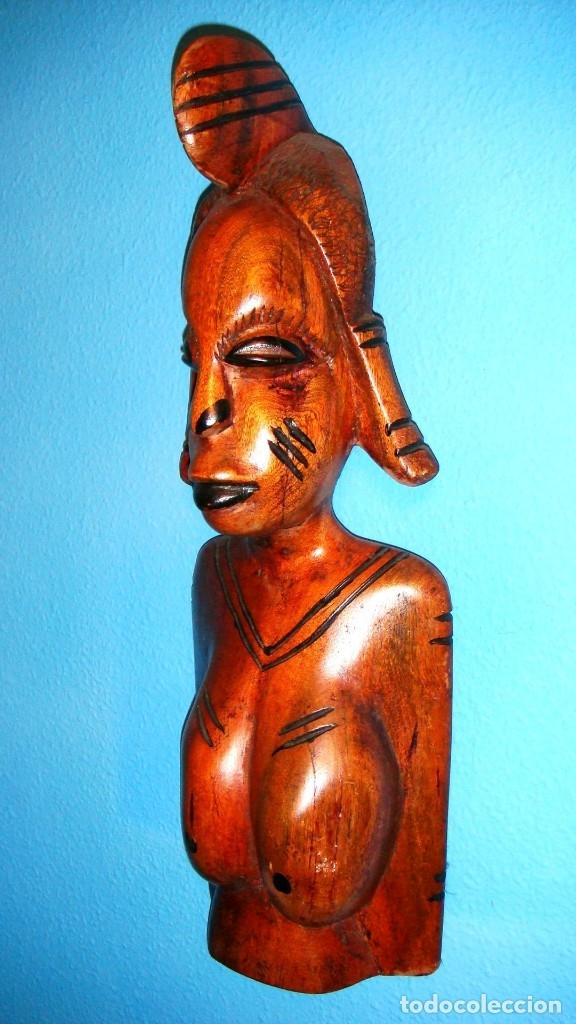 Arte: x2 MÁSCARAS TALLA MADERA AFRICANA - DECORADAS Y TALLADAS A MANO - MACIZAS - PESAN MUCHÍSIMO.... - Foto 11 - 29920256