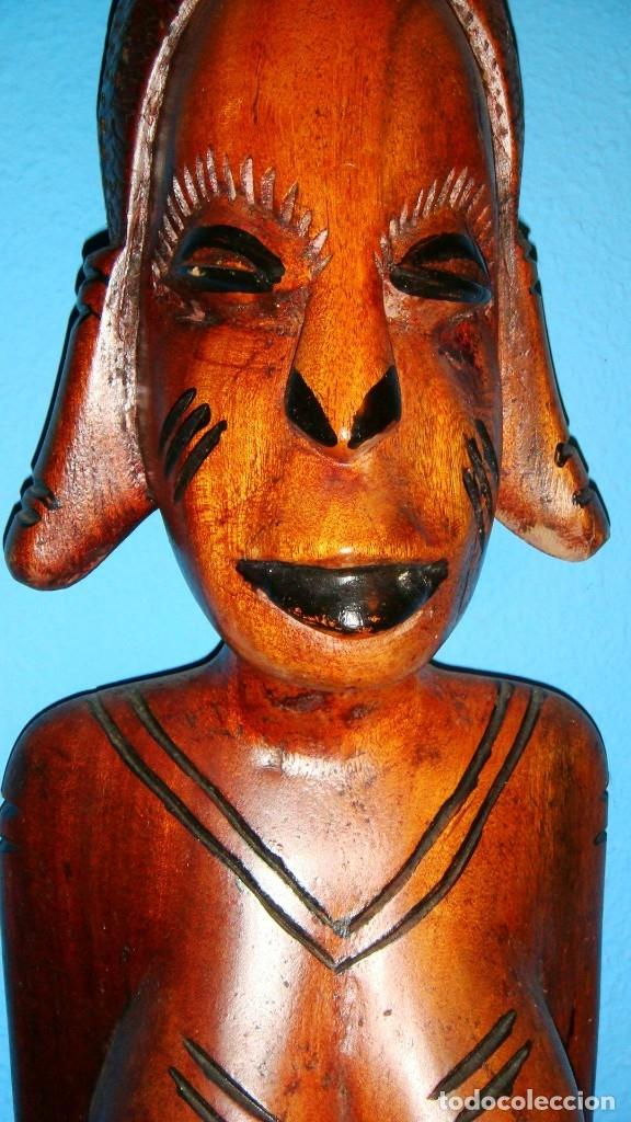 Arte: x2 MÁSCARAS TALLA MADERA AFRICANA - DECORADAS Y TALLADAS A MANO - MACIZAS - PESAN MUCHÍSIMO.... - Foto 12 - 29920256