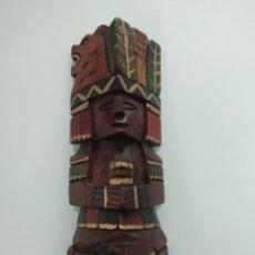 Arte: ANTIGUA TALLA AZTECA EN MADERA, TOTEM, ARTESANIA MEXICANA.. Lote 139203658