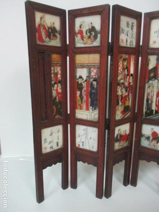 Arte: Pequeño Biombo Antiguo - Oriental - China - 8 Hojas - 2 Caras - Madera y Mármol Policromado - Foto 3 - 139309766