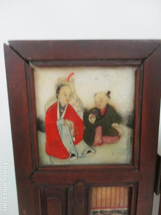 Arte: Pequeño Biombo Antiguo - Oriental - China - 8 Hojas - 2 Caras - Madera y Mármol Policromado - Foto 6 - 139309766