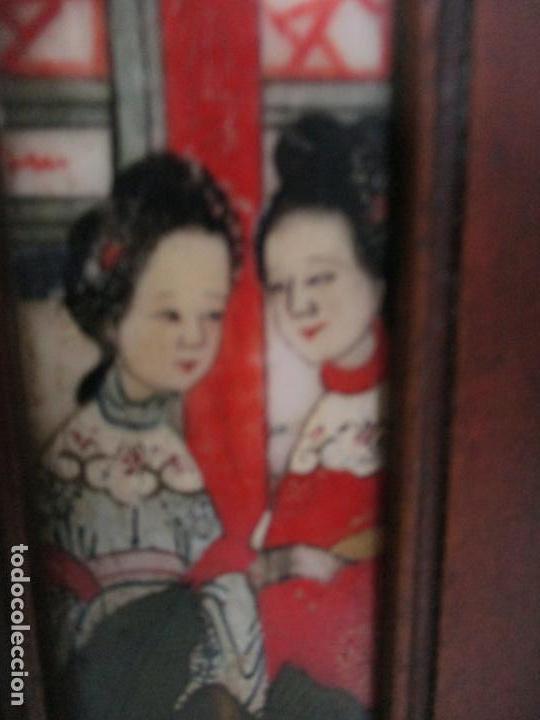 Arte: Pequeño Biombo Antiguo - Oriental - China - 8 Hojas - 2 Caras - Madera y Mármol Policromado - Foto 8 - 139309766