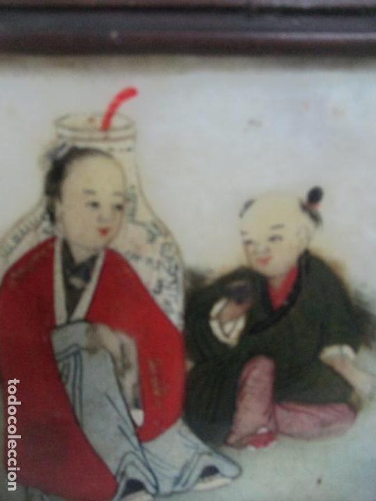 Arte: Pequeño Biombo Antiguo - Oriental - China - 8 Hojas - 2 Caras - Madera y Mármol Policromado - Foto 9 - 139309766