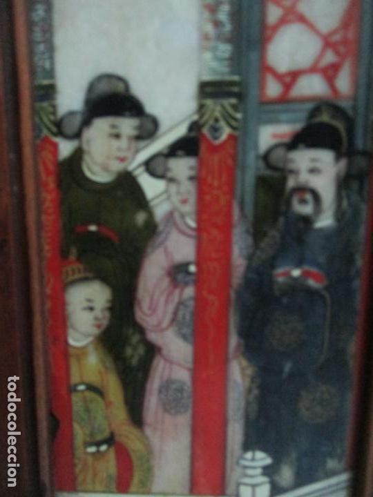 Arte: Pequeño Biombo Antiguo - Oriental - China - 8 Hojas - 2 Caras - Madera y Mármol Policromado - Foto 10 - 139309766