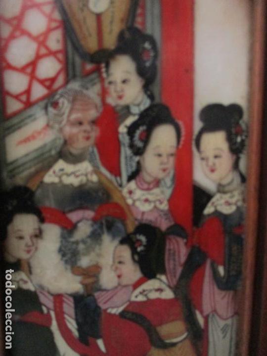 Arte: Pequeño Biombo Antiguo - Oriental - China - 8 Hojas - 2 Caras - Madera y Mármol Policromado - Foto 14 - 139309766