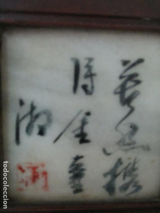 Arte: Pequeño Biombo Antiguo - Oriental - China - 8 Hojas - 2 Caras - Madera y Mármol Policromado - Foto 15 - 139309766