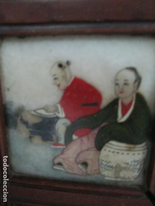 Arte: Pequeño Biombo Antiguo - Oriental - China - 8 Hojas - 2 Caras - Madera y Mármol Policromado - Foto 17 - 139309766