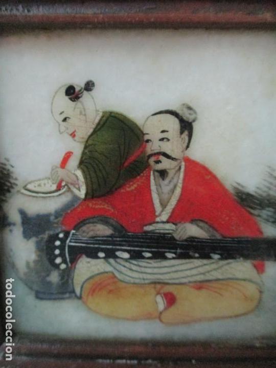 Arte: Pequeño Biombo Antiguo - Oriental - China - 8 Hojas - 2 Caras - Madera y Mármol Policromado - Foto 21 - 139309766