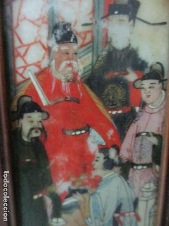 Arte: Pequeño Biombo Antiguo - Oriental - China - 8 Hojas - 2 Caras - Madera y Mármol Policromado - Foto 22 - 139309766