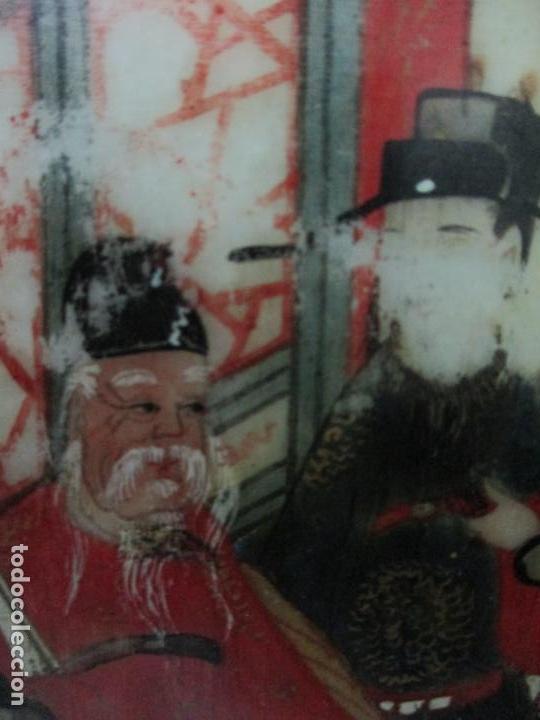 Arte: Pequeño Biombo Antiguo - Oriental - China - 8 Hojas - 2 Caras - Madera y Mármol Policromado - Foto 23 - 139309766