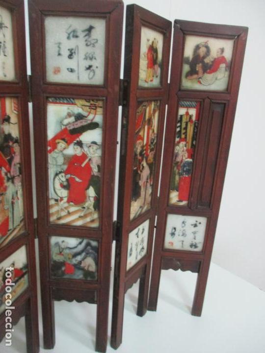 Arte: Pequeño Biombo Antiguo - Oriental - China - 8 Hojas - 2 Caras - Madera y Mármol Policromado - Foto 25 - 139309766