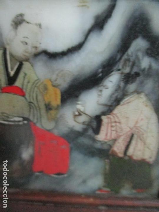Arte: Pequeño Biombo Antiguo - Oriental - China - 8 Hojas - 2 Caras - Madera y Mármol Policromado - Foto 26 - 139309766