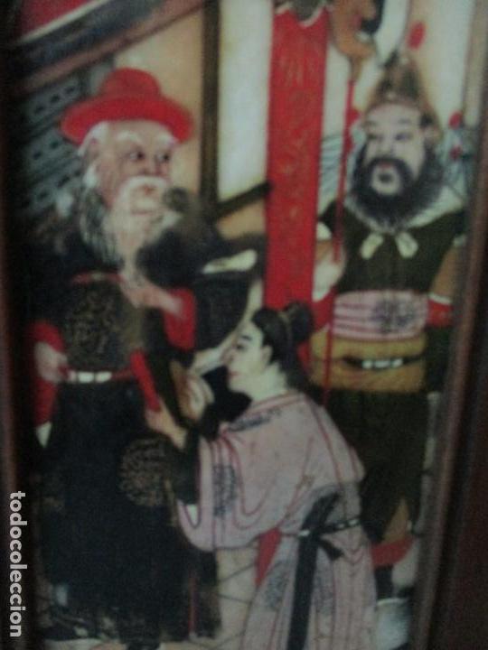 Arte: Pequeño Biombo Antiguo - Oriental - China - 8 Hojas - 2 Caras - Madera y Mármol Policromado - Foto 30 - 139309766