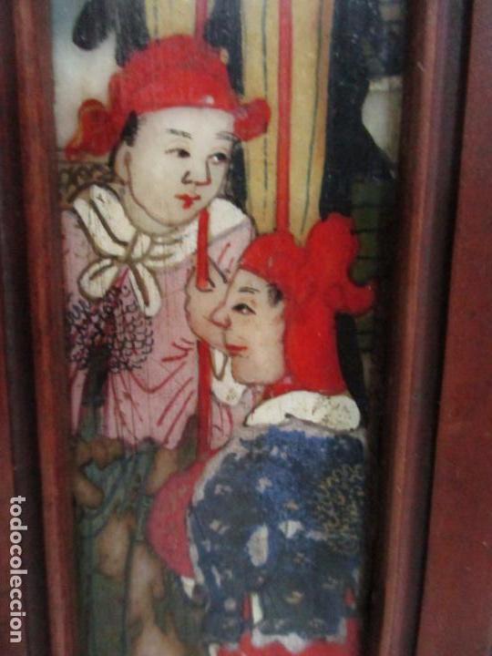 Arte: Pequeño Biombo Antiguo - Oriental - China - 8 Hojas - 2 Caras - Madera y Mármol Policromado - Foto 33 - 139309766