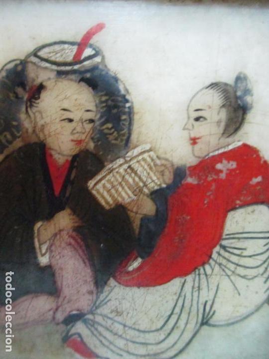 Arte: Pequeño Biombo Antiguo - Oriental - China - 8 Hojas - 2 Caras - Madera y Mármol Policromado - Foto 34 - 139309766
