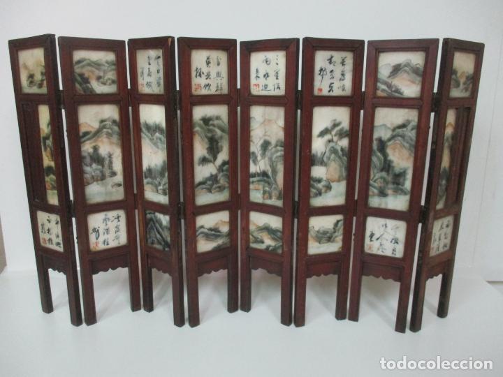 Arte: Pequeño Biombo Antiguo - Oriental - China - 8 Hojas - 2 Caras - Madera y Mármol Policromado - Foto 37 - 139309766