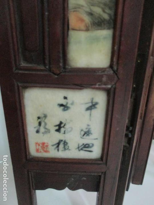 Arte: Pequeño Biombo Antiguo - Oriental - China - 8 Hojas - 2 Caras - Madera y Mármol Policromado - Foto 39 - 139309766