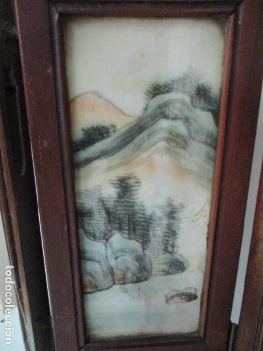 Arte: Pequeño Biombo Antiguo - Oriental - China - 8 Hojas - 2 Caras - Madera y Mármol Policromado - Foto 44 - 139309766