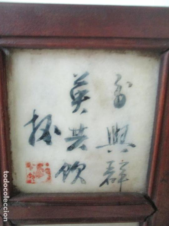 Arte: Pequeño Biombo Antiguo - Oriental - China - 8 Hojas - 2 Caras - Madera y Mármol Policromado - Foto 50 - 139309766