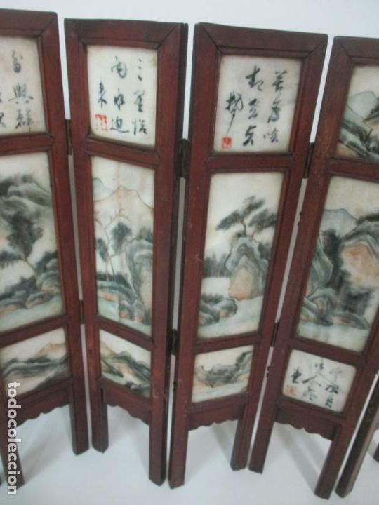 Arte: Pequeño Biombo Antiguo - Oriental - China - 8 Hojas - 2 Caras - Madera y Mármol Policromado - Foto 51 - 139309766