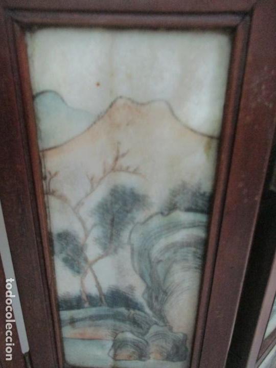 Arte: Pequeño Biombo Antiguo - Oriental - China - 8 Hojas - 2 Caras - Madera y Mármol Policromado - Foto 52 - 139309766