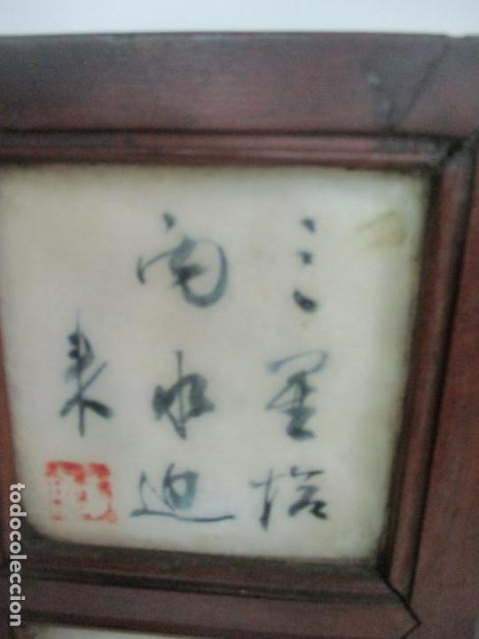 Arte: Pequeño Biombo Antiguo - Oriental - China - 8 Hojas - 2 Caras - Madera y Mármol Policromado - Foto 53 - 139309766