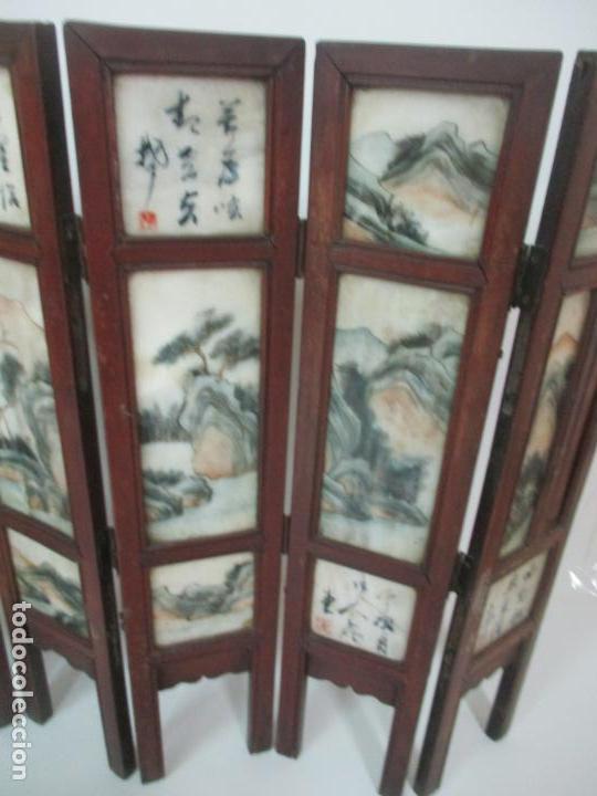 Arte: Pequeño Biombo Antiguo - Oriental - China - 8 Hojas - 2 Caras - Madera y Mármol Policromado - Foto 54 - 139309766