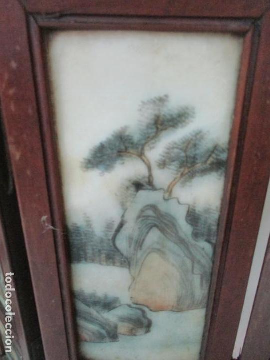 Arte: Pequeño Biombo Antiguo - Oriental - China - 8 Hojas - 2 Caras - Madera y Mármol Policromado - Foto 55 - 139309766