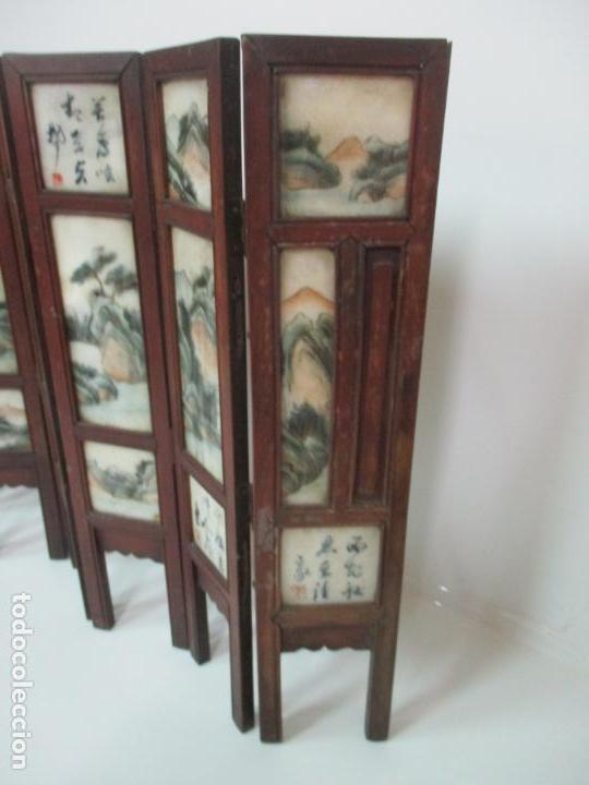 Arte: Pequeño Biombo Antiguo - Oriental - China - 8 Hojas - 2 Caras - Madera y Mármol Policromado - Foto 58 - 139309766