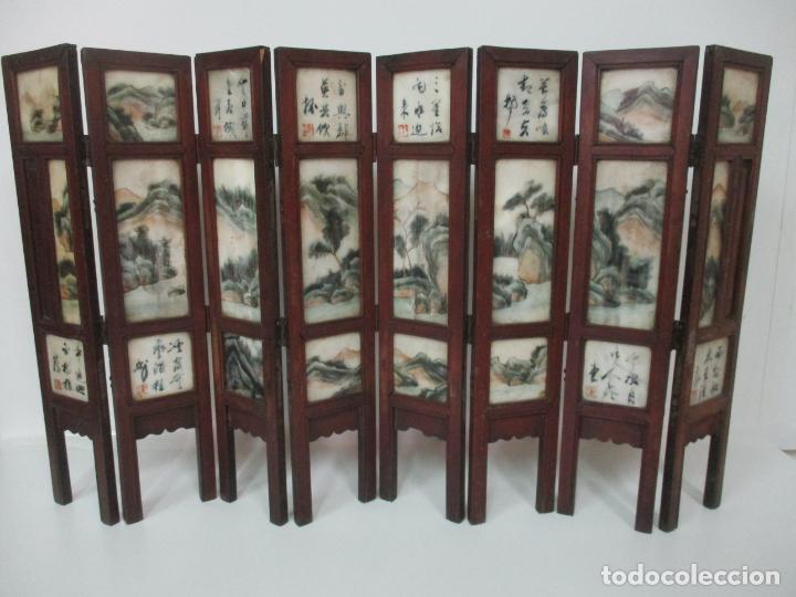 Arte: Pequeño Biombo Antiguo - Oriental - China - 8 Hojas - 2 Caras - Madera y Mármol Policromado - Foto 60 - 139309766