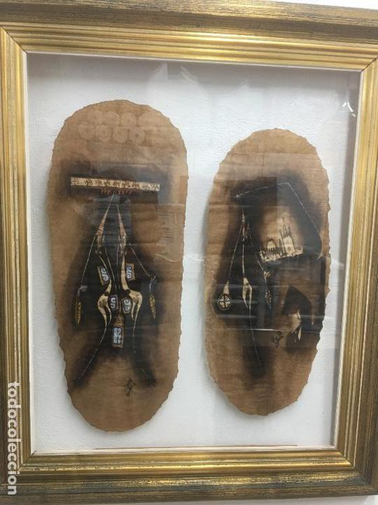 PINTURAS DE DIOSAS BEREBERES, CON JENA Y PINTURAS NATURALES SOBRE PAPEL DE SACO DE CEMENTO (Arte - Étnico - África)
