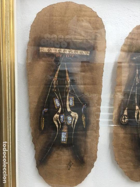 Arte: PINTURAS DE DIOSAS BEREBERES, CON JENA Y PINTURAS NATURALES SOBRE PAPEL DE SACO DE CEMENTO - Foto 2 - 140327522