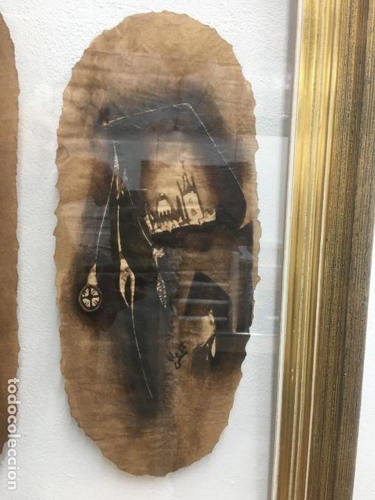 Arte: PINTURAS DE DIOSAS BEREBERES, CON JENA Y PINTURAS NATURALES SOBRE PAPEL DE SACO DE CEMENTO - Foto 3 - 140327522